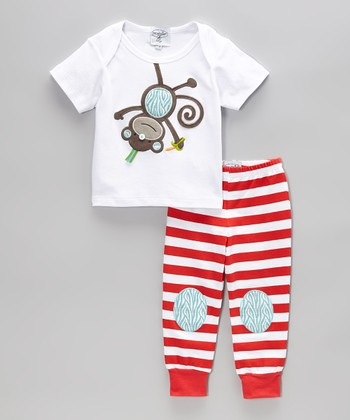 White Monkey Tee & Red Stripe Pants - Infant & Toddler