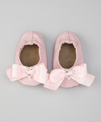 Pink Gem Heart Bow Satin Booties
