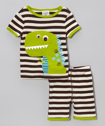 Brown Stripe Dino Pajama Top & Bottoms - Toddler