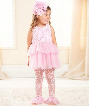 Pink Rosette Ruffle Tunic & Lace Leggings - Toddler & Girls