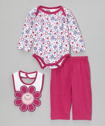 Peanut Buttons Fuchsia Happy Flower Bodysuit Set - Infant