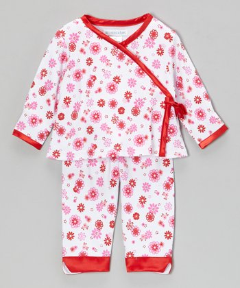 Pink & Red Garden Wrap Top & Pants - Infant
