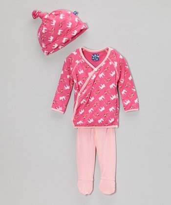 Pink Zebra Wrap Top Set - Infant