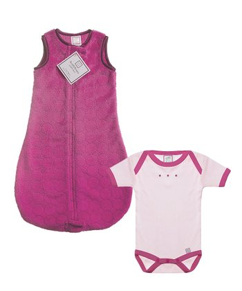 Pink zzZipMe Sleeping Sack & Pastel Pink Bodysuit - Infant