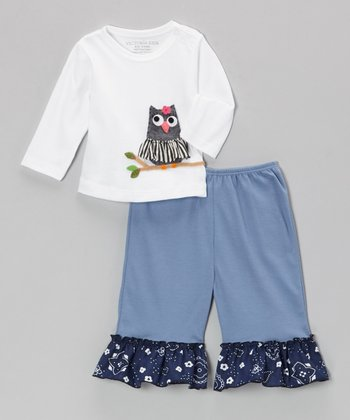 White Owl Tee & Denim Blue Ruffle Pants - Infant, Toddler & Girls