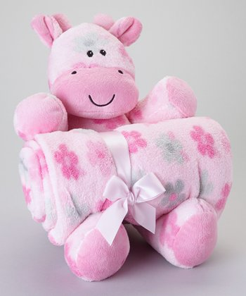 Pink Flower Stroller Blanket & Plush Toy
