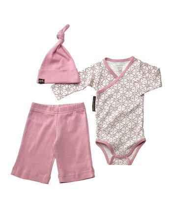 Pink & Gray Garden Lattice Organic Beanie Set - Infant