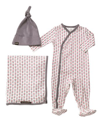 Gray & Pink Mod Mum Organic Footie Set - Infant
