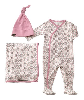 Pink & Gray Garden Lattice Organic Footie Set - Infant
