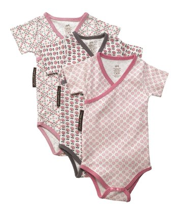 Pink & Gray Organic Bodysuit Set - Infant