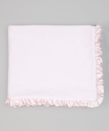 Light Pink Plush Ruffle Stroller Blanket