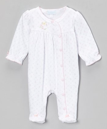 White Blossom Flower Footie - Infant
