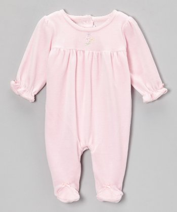 Pink Flower Velour Footie - Infant