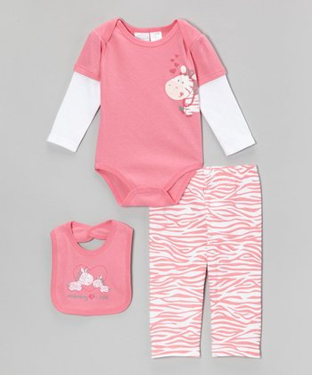 Pink 'Mommy Loves Me' Zebra Bodysuit Set - Infant