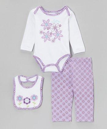 kathy ireland Lilac Happy Flower Bodysuit Set - Infant