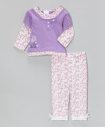 kathy ireland Lilac Butterfly Flower Layered Top & Pants - Infant