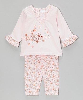 kathy ireland Pink Flower Bird Top & Pants - Infant
