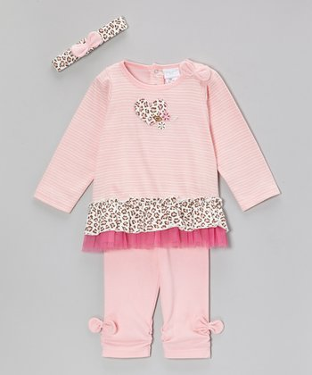 Pink Leopard Heart Ruffle Long-Sleeve Top Set - Infant