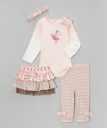 kathy ireland Pink Ballerina Layered Bodysuit Set - Infant