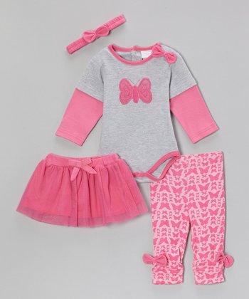 kathy ireland Fuchsia Butterfly Bow Layered Bodysuit Set - Infant