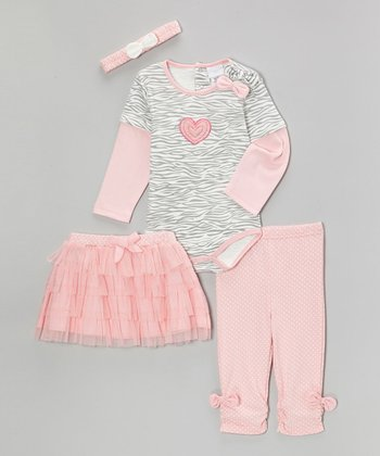 kathy ireland Pink Zebra Heart Bow Layered Bodysuit Set - Infant
