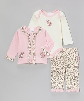 Pink Leopard Bunny Ruffle Cardigan Set - Infant