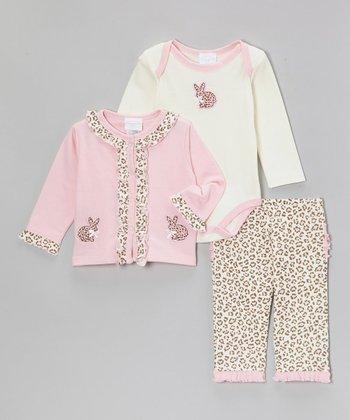 kathy ireland Pink Leopard Bunny Cardigan Set - Infant