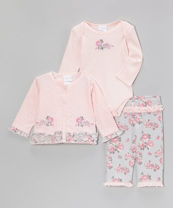Pink Polka Dot Floral Ruffle Cardigan Set - Infant