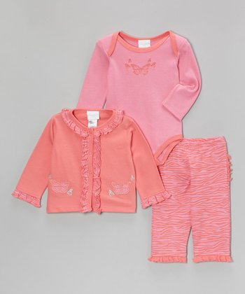 Fuchsia Butterfly Ruffle Cardigan Set - Infant