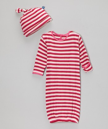 Candy Stripe Gown & Single-Knot Beanie - Infant