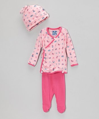 Pink Animal Parade Wrap Top Set - Infant