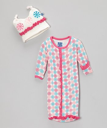 Pink Candy Ruffle Sleeping Sack & Double-Knot Beanie - Infant