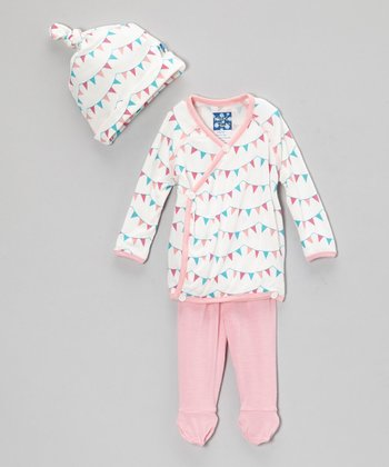 Pink Party Flag Wrap Top Set - Infant