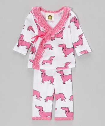 Pink Haute Dog Organic Wrap Top Set - Infant