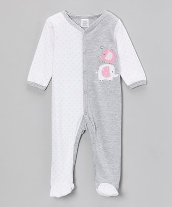 Gray Elephant Footie - Infant