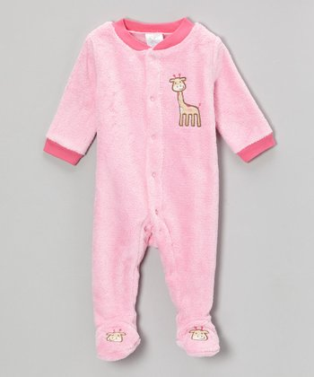 Pink Giraffe Velboa Footie - Infant