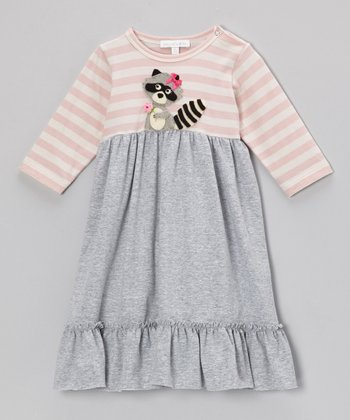 Pink & Gray Stripe Raccoon Swing Dress - Infant, Toddler & Girls
