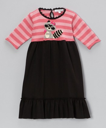 Pink & Black Stripe Raccoon Swing Dress - Infant, Toddler & Girls