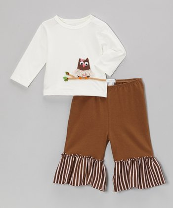 Off-White Owl Tee & Brown Ruffle Pants - Infant & Toddler