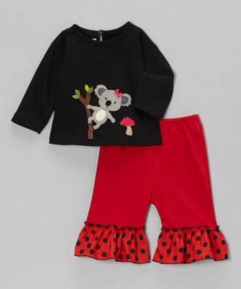 Black Koala Tee & Red Ruffle Pants - Infant, Toddler & Girls