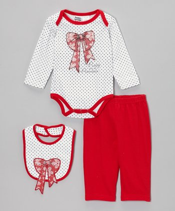 White & Red 'Pretty as a Princess' Bodysuit Set - Infant