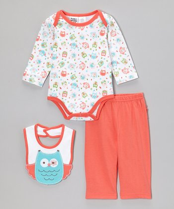 Coral Owl Bodysuit Set - Infant