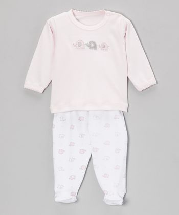 Pink Elephant Long-Sleeve Top & Footie Pants - Infant