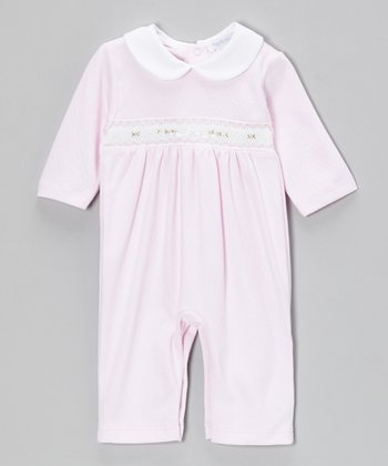 Pink Jacquard Smocked Playsuit - Infant