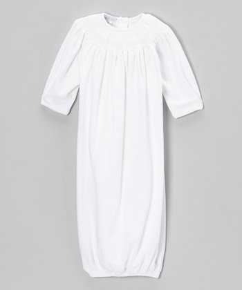 White Grace Smocked Bishop Gown - Infant
