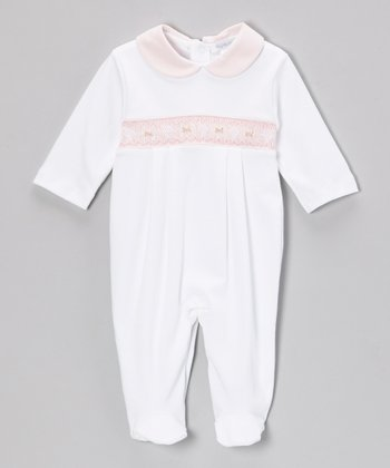 White & Pink Sabrina Smocked Footie - Infant
