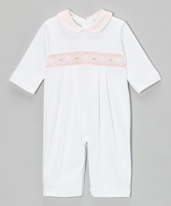 White & Pink Sabrina Smocked Playsuit - Infant