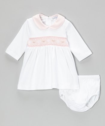 White & Pink Sabrina Smocked Dress & Diaper Cover - Infant