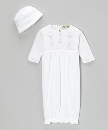 White Kyle Crocheted Gown & Beanie - Infant