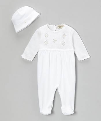 White Kyle Crocheted Footie & Beanie - Infant